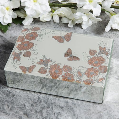 Ladies Jewellery Box Gift - Rose Gold Butterfly Design Mirrored Jewellery Box
